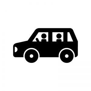 車でドライブの白黒シルエットイラスト シルエット イラスト 車 イラスト 車 シルエット
