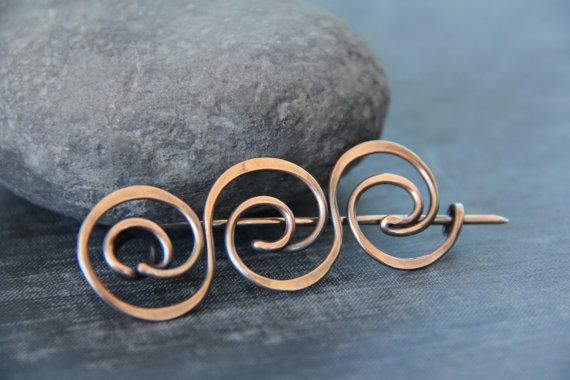 Ancient Greek motif inspired shawl pin in copper, scarf pin, sweater pin, brooch, wire wrap, waves, swirls.hammered, oxidized copper, rustic