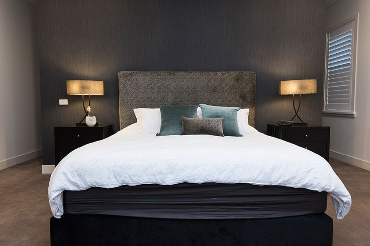 Charcoal, silver and blue Master bedroom design and decor.