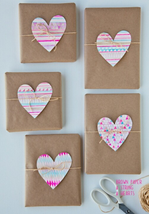 brown paper wrap, string and paper hearts