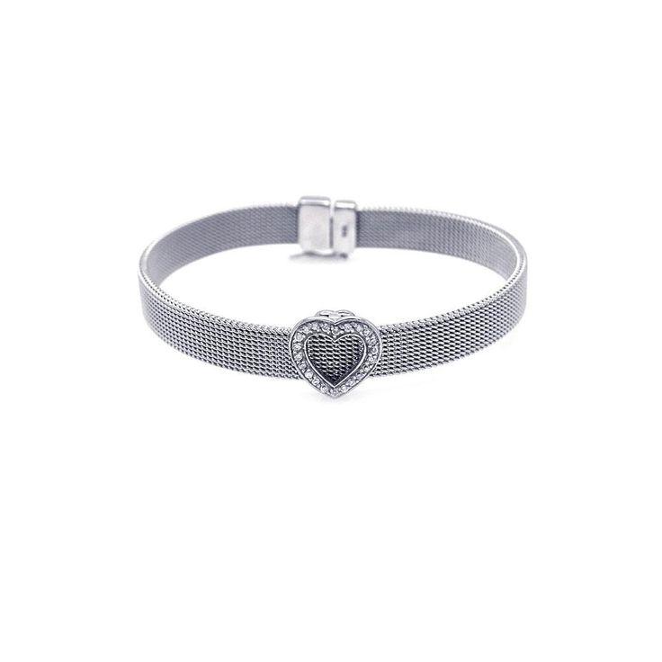 Heart Clear CZ Mesh Bracelet