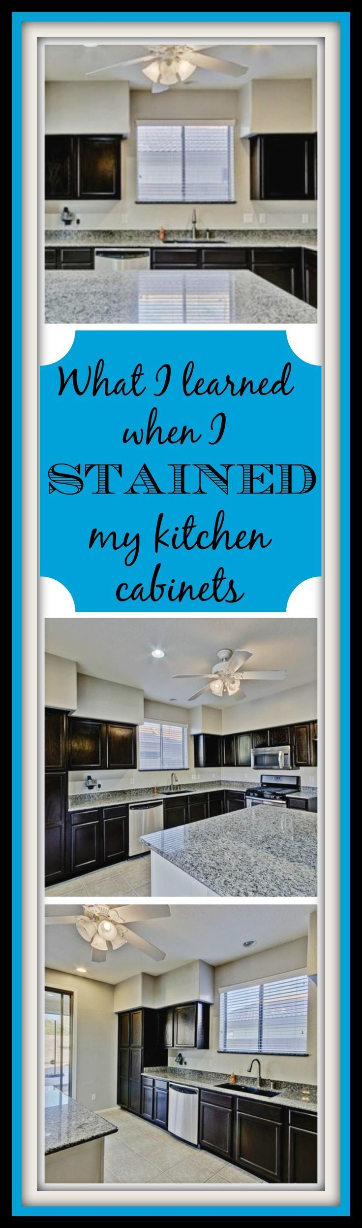 Easy DIY instructions on how to stain kitchen or bathroom cabinets. For around $100 you can completely transform your kitchen! Product used is General Finishes Java Gel Stain.