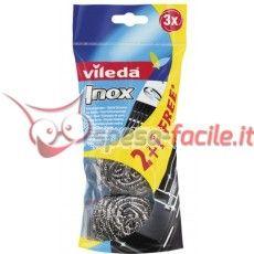 VILEDA SPUGNA INOX Abrasivo Inox 2+1 Acciao inox, antiruggine, 3 pz.  Inox Vileda è la paglietta in acciaio inox ideale contro le incrostazioni delle pentole e per la pulizia a fondo di tutte le superfici particolarmente incrostate. • Non arrugginisce perchè in acciaio Inox. • Offerta speciale 2+1: 1 paglietta su 3 è gratis! http://www.spesa-facile.it/prodotti/vileda