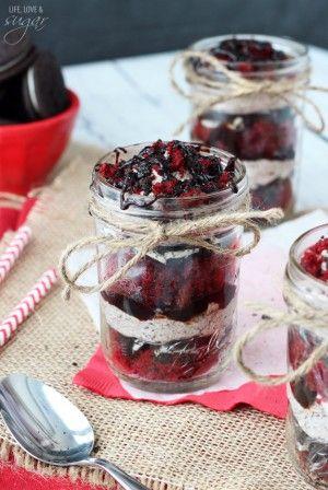 Red Velvet Oreo Trifles in a jar