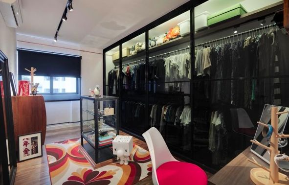 Wardrobe sectioned off by sliding glass doors new home for Sliding glass doors dressings