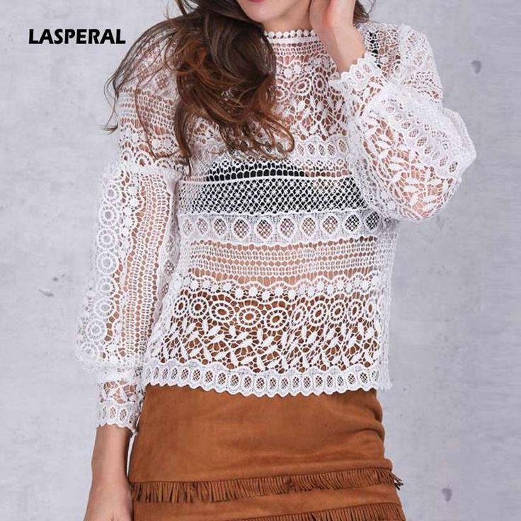 LASPERAL 2017 Spring Autumn Women Sexy Blouses New Fashion Long Lantern Sleeve O-Neck Ruffles Hollow-Out Lace Tops Blouses  #Affiliate