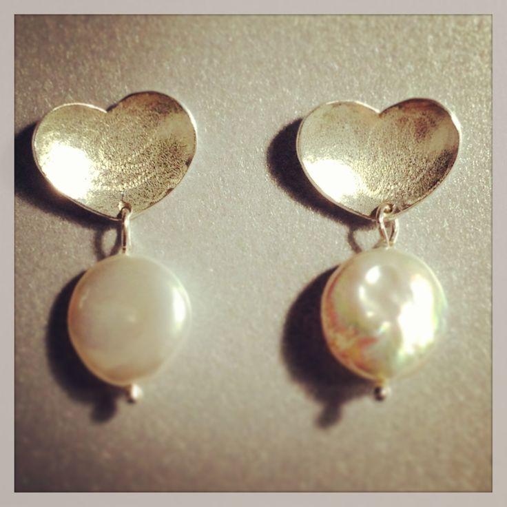 Aretes plata 950 y perlas