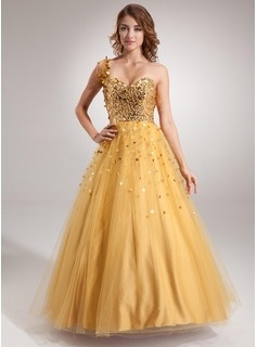 A-Line/Princess One-Shoulder Floor-Length Satin Tulle Quinceanera Dresses With Beading (021016402)