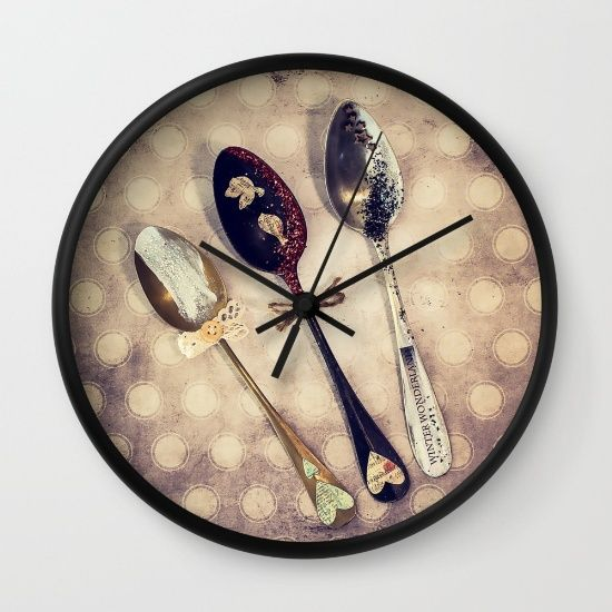 Buy Three old spoons Wall Clock by nicolettazanella. Worldwide shipping available at Society6.com. Just one of millions of high quality products available.