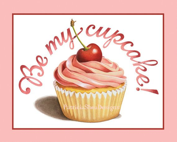 Archival print Be My Cupcake by #PatriciaSheaDesigns 8 x 10 wall art Perfect Valentine's poster! #MaineTeam