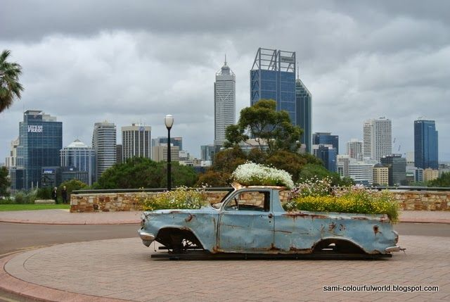 Perth - Old Holden as flower container at Kings Park Spring Festival.