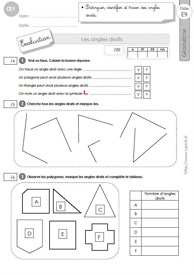 Ce1 Evaluation Les Angles Droits En Ce1 Cycle 2 Ce1 Geometrie Ce1 Evaluation Ce1
