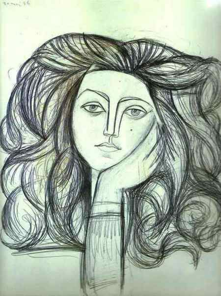Adore the expression captured here and the bold strokes that make the mane of hair -- Pablo Picasso: Portrait of Françoise Gilot