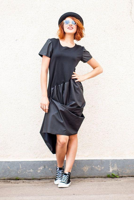 Asymmetrical Black Extravagant Dress / Black Dress / by Teyxo