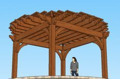 A kit for a round pergola with a square base.