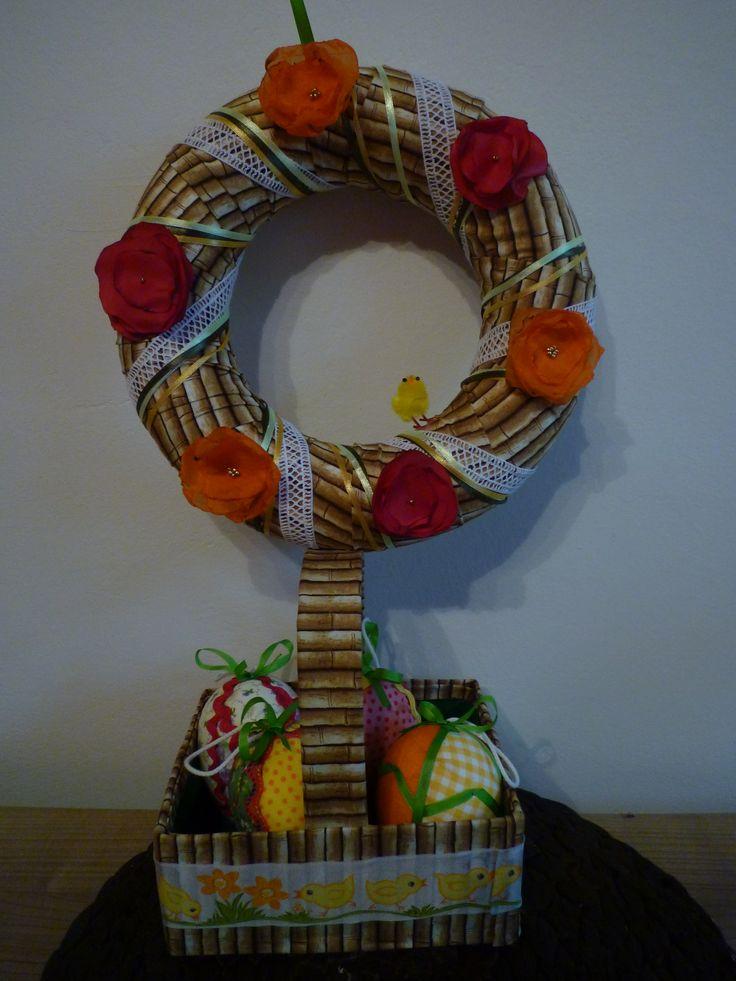 velikonoční věnec a košíček.