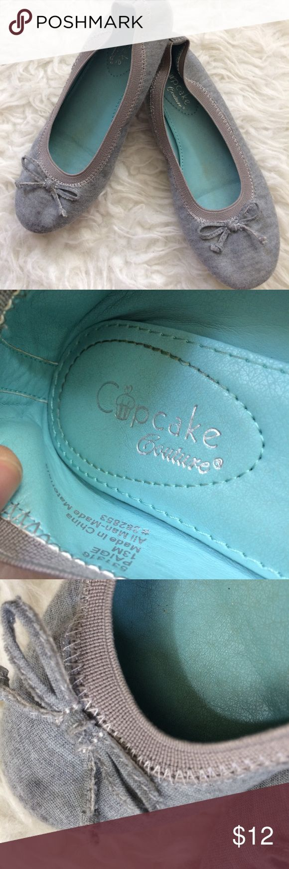 Cupcake couture Chambray ballerina flats girls 13 Very good condition light blue textile with bow detail ballerina flats from Cupcake couture girls size 13M. Cupcake Couture Shoes
