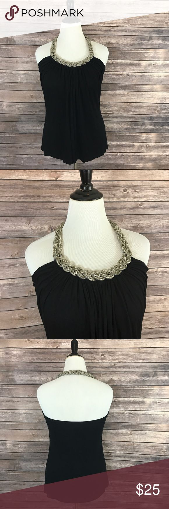 Cable Gauge Top Large Metal Braided Halter Black Cable Gauge Womens Top Size Large Metal Braided Halter Sleeveless Stretch Black. Measurements: (in inches) Underarm to underarm: 17 Length: 28.5  Good, gently used condition Cable & Gauge Tops Tank Tops