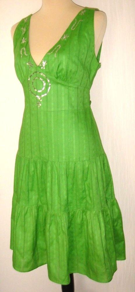 LIZ MINELLI Dress Bright Green Lined Sleeveless embellished sequined Size M NWOT #LZMinelli #BeachDressEmpireWaist #Casual