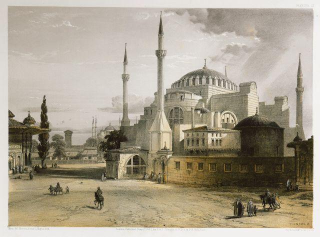 Άποψη της Αγίας Σοφίας στην Κωνσταντινούπολη από τα νότια. Στα αριστερά διακρίνεται η Κρήνη του Σουλτάνου Αχμέτ Γ΄ενώ στο βάθος το Τέμενος του Σουλτάνου Αχμέτ Α΄, τα βυζαντινά τείχη και η Προποντίδα (Θάλασσα του Μαρμαρά). - FOSSATI, Gaspard - ME TO BΛΕΜΜΑ ΤΩΝ ΠΕΡΙΗΓΗΤΩΝ - Τόποι - Μνημεία - Άνθρωποι - Νοτιοανατολική Ευρώπη - Ανατολική Μεσόγειος - Ελλάδα - Μικρά Ασία - Νότιος Ιταλία, 15ος - 20ός αιώνας