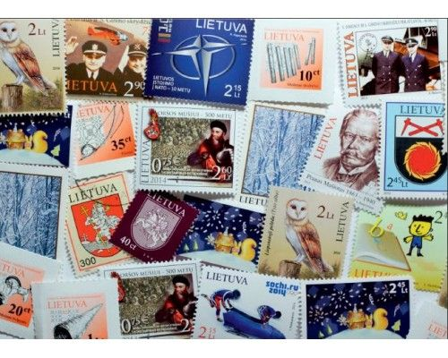 Postcard Lithuanian stamps