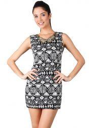 Something Borrowed Petite  Something Borrowed Petite Aztec Dresses Black White