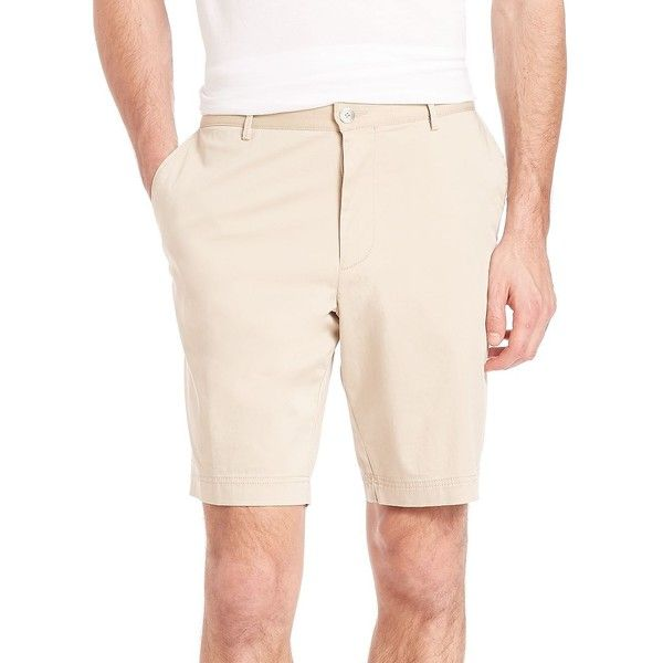 HUGO BOSS Crigan Stretch Cotton Chino Shorts (10.345 RUB) ❤ liked on Polyvore featuring men's fashion, men's clothing, men's shorts, apparel & accessories, beige, mens chino shorts and mens slim fit shorts