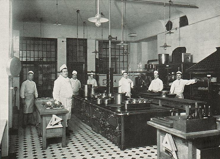 Restaurant Stube Und Kueche Kitchen In The Palace Hotel, Wiesbaden, 1905 | Victorian