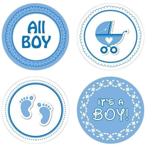 It's A Boy Baby Shower Stickers (Set of 60)