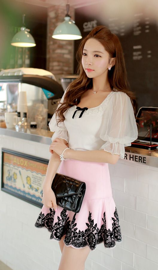 White+See+Through+Flare+Sleeve+Bow+Top+Shirt