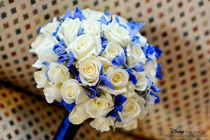 Beautiful white rose and delphinium bouquet with a blue stem wrap #whiterose #delphinium #bouquet #wedding