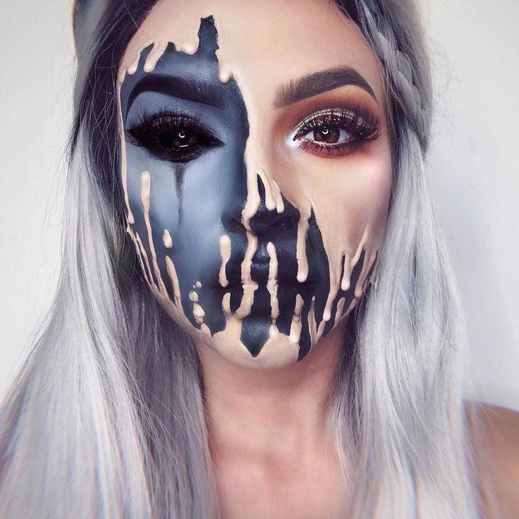 optische täuschung make up halloween fasching schwarz hautfarbe verschwommen #halloween #fasching #makeup