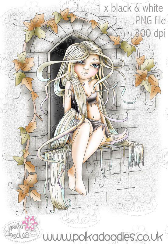 Rapunzel cuento de hadas negro y blanco sello por PolkadoodlesDigi