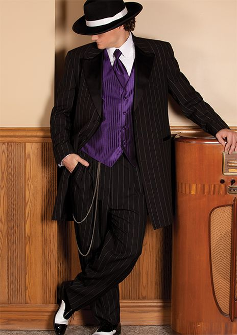 #SavviFormalwear Zoot Suit by After Six - Tropical weight wool, 4 button, Black Stripe, Shown with coordinating purple accessories.