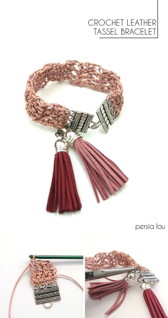 Crocheted Leather Bracelet