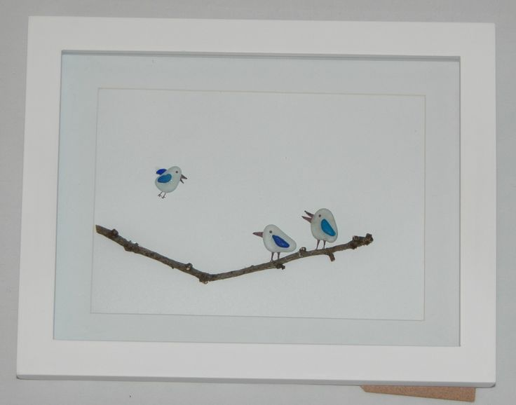 Sea glass picture of birds on a branch.  For sale on Etsy.com.