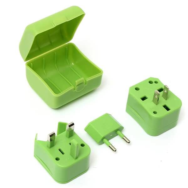 Universal World Travel US / UK / EU / AU Plug AC Power Outlet Socket Adapter Converter Set  	 	Description: 	Safe and easy way to connect your portable appliances worldwide 	Compatible with US/UK/EU/AU plug standards 	AC Power: 125V 6A & 250V 3A 	Color: Black, White, Green, Pink,...