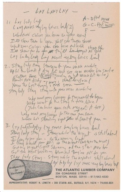 Bob Dylan's Lay Lady Lay lyrics featured in online sale