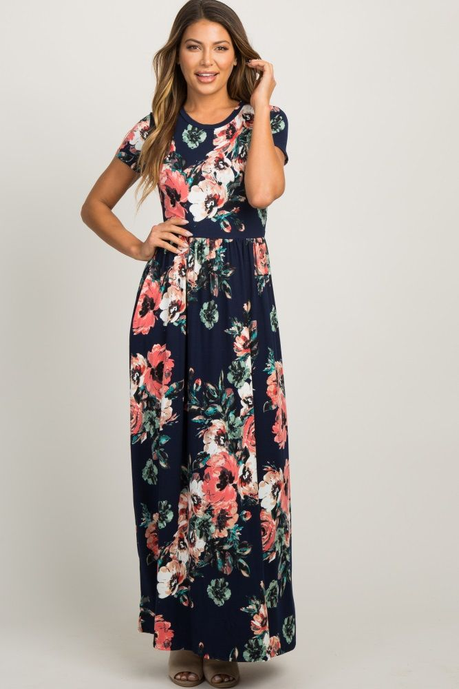 5da42f6c26e71 Navy Blue Floral Short Sleeve Maxi Dress in 2019 | Dress 1 | Navy ...