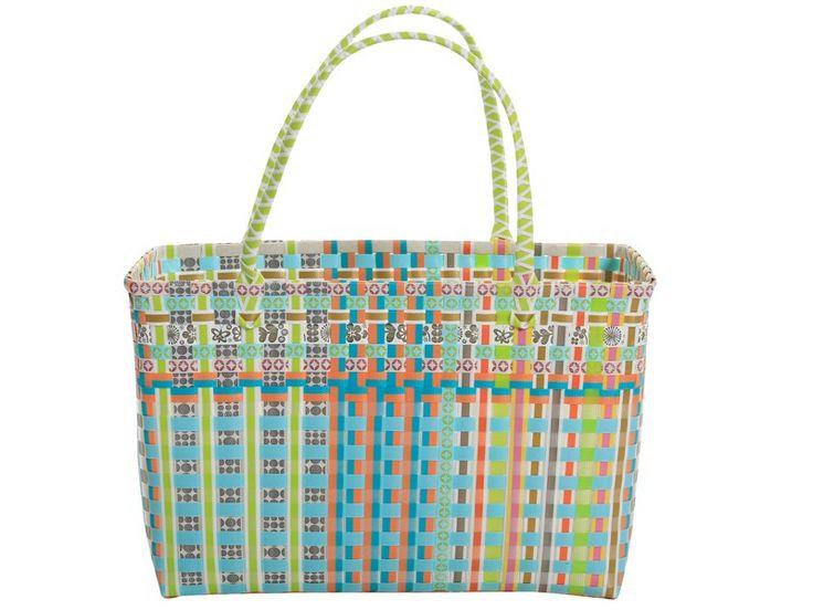 Overbeck and Friends Tasche Jackie-Lou. Die stabile Tasche ist aus Kunststoffgeflecht und hat zwei Griffe. Der Rand der Einkaufstasche ist metallverstärkt.