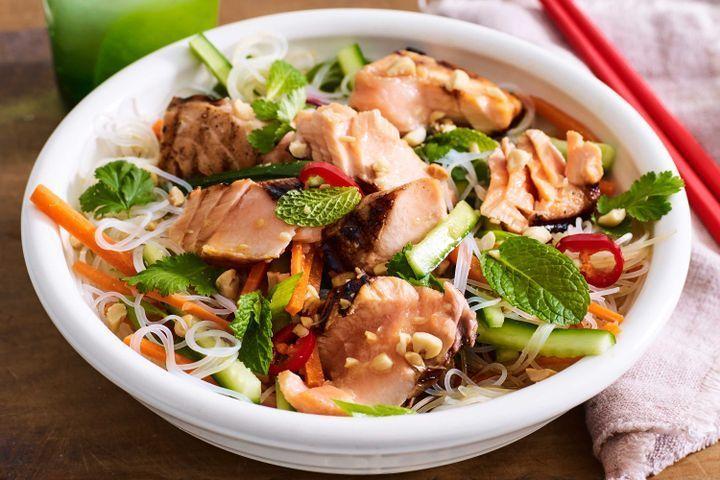 Vietnamese salmon noodle bowl