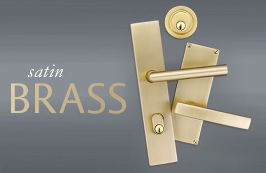 Satin brass door hardware from Emtek.