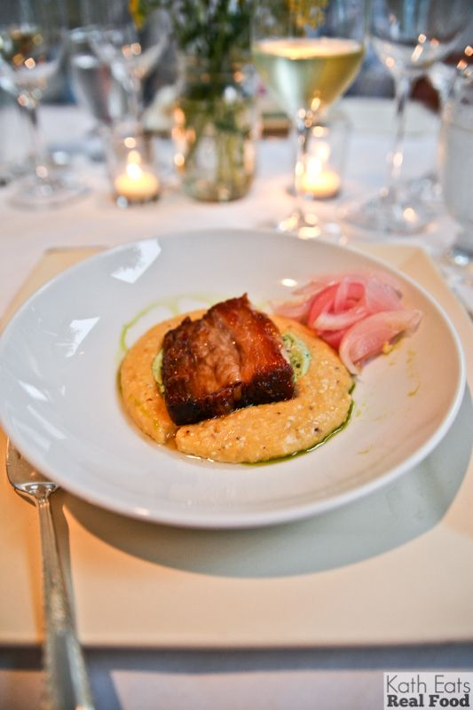 honey-glazed pork belly over chipotle grits with cilantro cream (pickled onions on the side!)