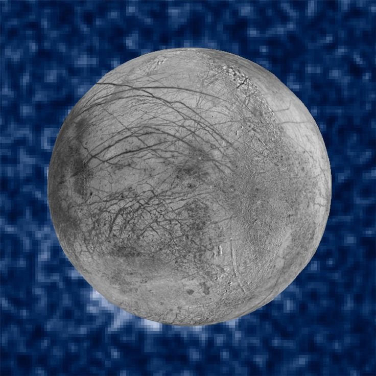 This composite image shows suspected plumes of water vapor erupting at the 7 o'clock position off the limb of Jupiter's moon Europa. The plumes, photographed by NASA's Hubble's Space Telescope Imaging Spectrograph, were seen in silhouette as the moon passed in front of Jupiter.