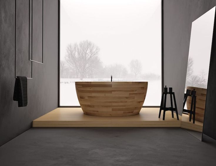 Munai bathtub is one of the most incredible wooden bathtub created by Unique Design. With special protection and regular ventilation can avoid this anyway. If the surface is damaged, then it can be easily sanded and repainted. 10 Fabulous Wooden Luxury Bathroom Ideas to Inspire You ➤To see more Luxury Bathroom ideas visit us at www.luxurybathrooms.eu #luxurybathrooms #homedecorideas #bathroomideas @BathroomsLuxury