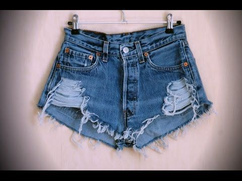 How To: Cut Denim Jeans Into Shorts DIY Easy Cuffs and Cut Offs with White Threads - YouTube