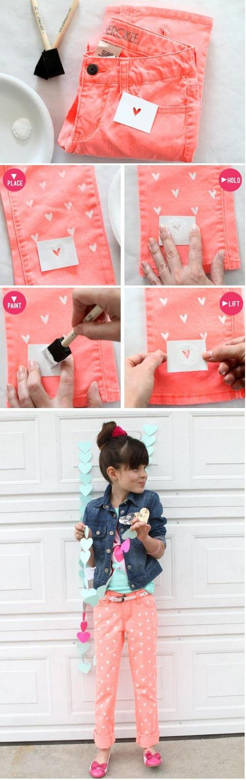 DIY Painted Heart Jeans, (wouldn't the paint wash off?)