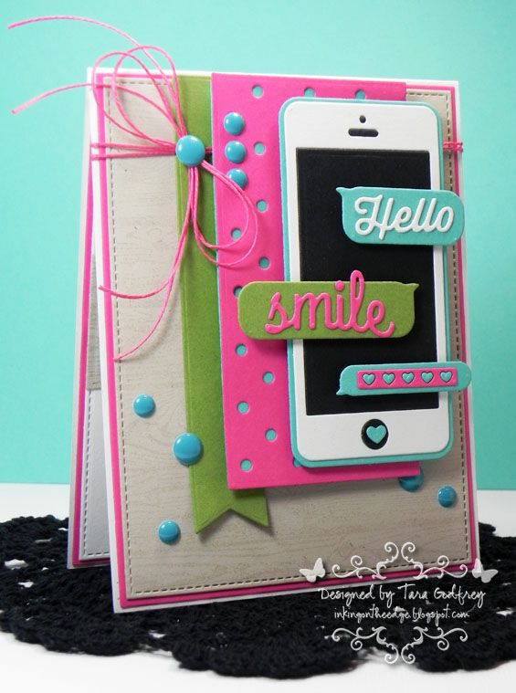 I made this card with the MFT  LLD Smart Phone Die-namics in honour of my first iPhone ;) I used MFT Replenishments Heavyweight Card Stock in Natural, Razzle Berry, Blu Raspberry, Gumdrop Green, Sweet Tooth and Black Licorice. I used Blueprints 13, 12, 11, 6, and 1 and Swiss Dots, Fishtail Flags STAX. I used MFT Premium Dye Ink in Natural and stamped the MFT Wood Plank Background Stamp.  photo MFTWSC172_edited-1RS1_zpseb878458.jpg