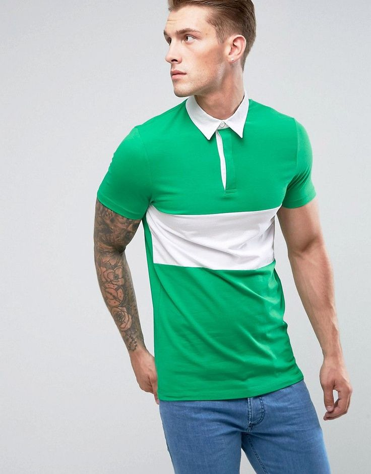 ASOS Longline Muscle Rugby Polo Shirt In Green With Contrast Panel - G