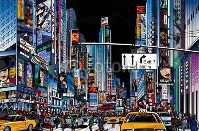 Fototapeta Nowy Jork, Panel szklany Nowy Jork, Fototapety Nowy Jork, Plexi Nowy Jork, nowy jork ulica ludzie tłum reklamy samochody ilustracja, 50262273